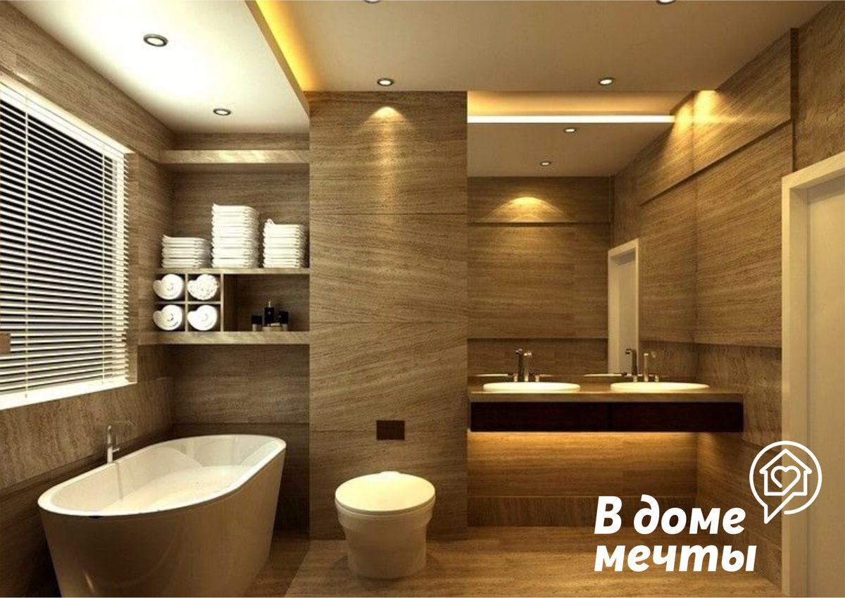 Стильная и практичная ванная: топ-6 вариантов облицовочных материалов для оформления потолка